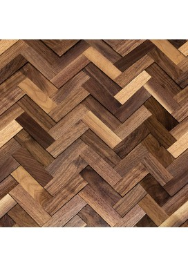 3D Herringbone Natural Walnut Walling